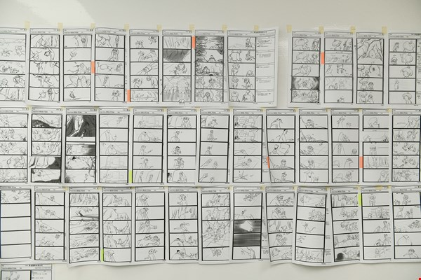 The images covering this wall hint at just how much effort goes into producing an animated work.