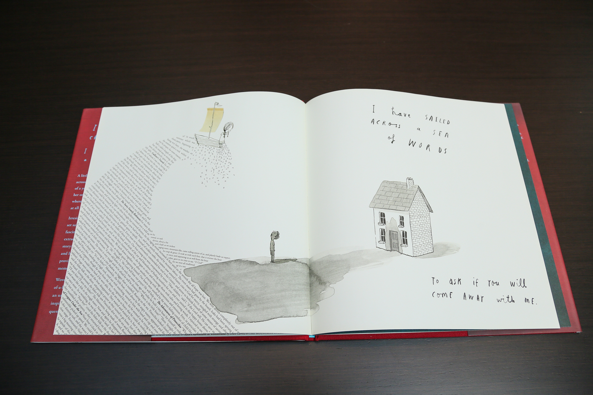 《A Child of Books》以文字拼湊圖像,嶄新手法令人驚艷。 A Child of Books, by Sam Winston and Oliver Jeffers, has illustrations assembled out of letters; the technique is an astonishingly effective new departure.