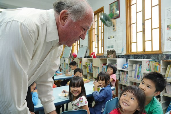 For more than 50 years Fr. Fournier has shuttled to and from Switzerland, raising funds for early years education.