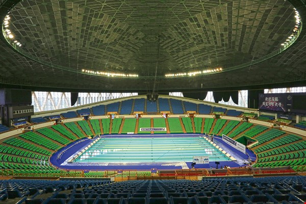 "The 2017 Universiade marks the first use in Taiwan of a ""floating"" prefabricated pool, which some have nicknamed the ""Lego pool."" (courtesy of TUOC)"