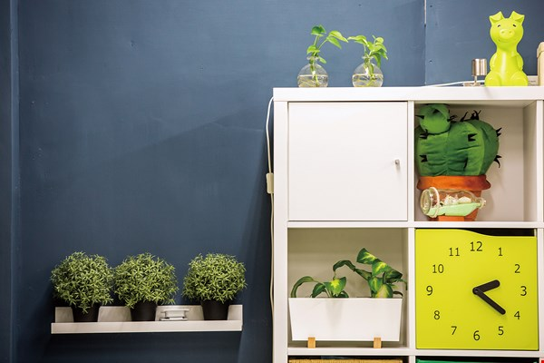 Beauty often lies in small details. Pot plants and figurines bring the classroom bookcases to life. (photo by Lin Min-hsuan)