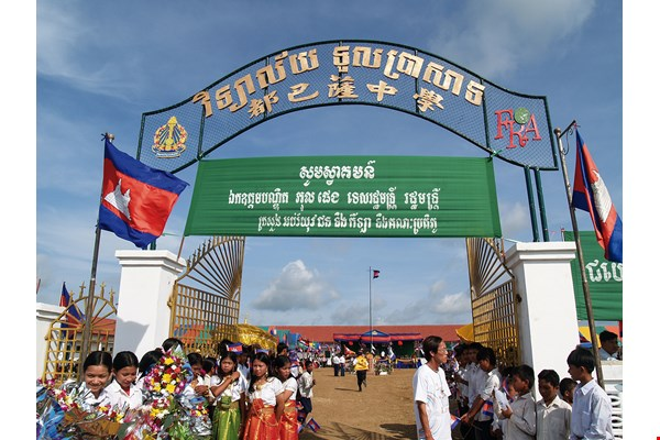 "In 2005, the Lions Club of Taiwan helped build a high school in a Cambodian village known as ""Landmine Village,"" providing a solution to the problem of large numbers of dropouts.  (courtesy of FRA)"