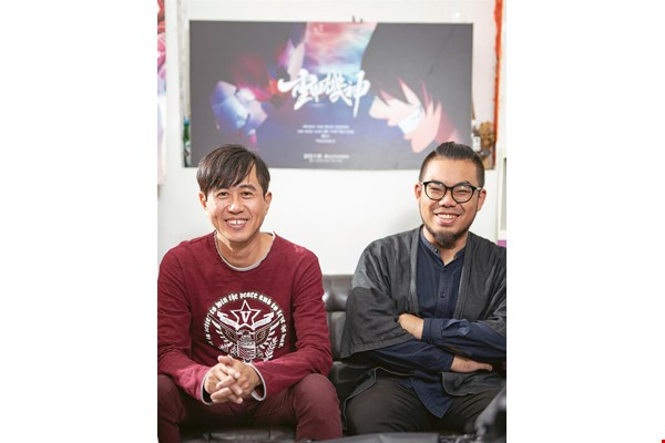 Jo-jo Hwang (left) and Mo Monster (right) have collaborated on the production of Baryon, Taiwan's first animated film about a giant robot.