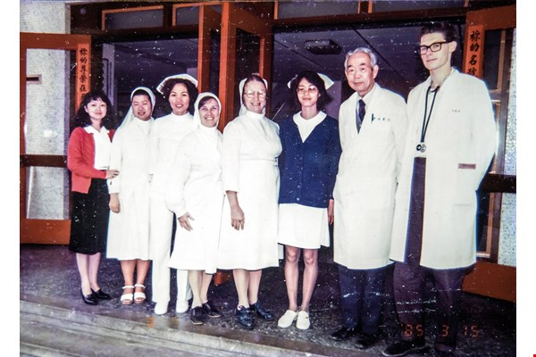 This group photo of Kenrick (far right) and his colleagues at St. Mary's Hospital in Taitung, including hospital director Sister Agnes McPhee, was taken not long after his arrival in Taiwan. (courtesy of Peter Kenrick)