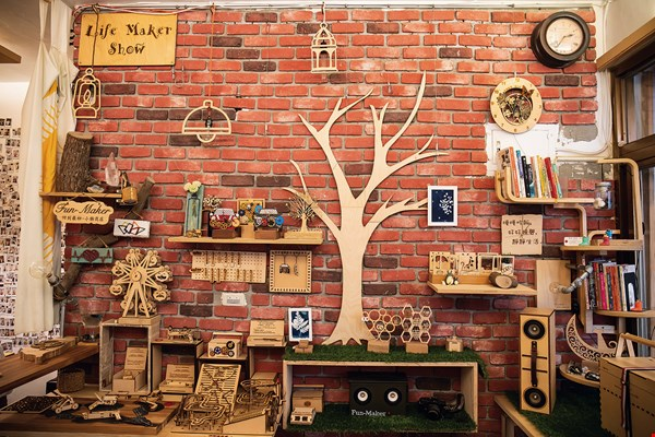 At the entrance to Fun-Maker there is an eye-catching area filled with all manner  of wooden toys and knickknacks.