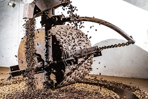 This old-fashioned mill in Taichung's Shalu District, with a stone roller weighing 600 kilograms, is used to crush stir-fried peanut kernels, an essential step in the traditional way of making peanut oil. (photo by Lin Min-hsuan)